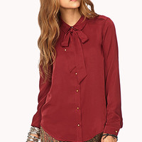 Studded Neck Tie Shirt