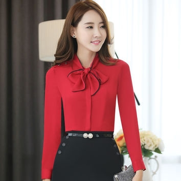 Summer Elegant Women Tops Fall Autumn Office Lady WorK Wear Shirts Girl Spring Long Full Sleeve Red Bow Blouse Largest Size 4XL