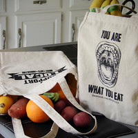 Eco Friendly Reusable Canvas Grocery Tote Bag  by StoicDesign