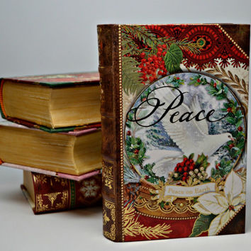 World Peace Christmas Ornament Book Box, Peace Christmas Box, Christmas Peace Box, Treasure Box, Mixed Media Book Box