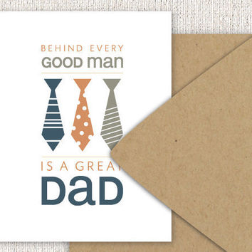 Fathers Day Card Neck Tie Typography Folded by sweetharvey