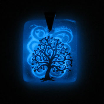 Glow in the Dark Glass Necklace - Spiral Tree No. 4