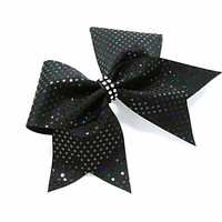 Cheer bow, Black cheer bow, sequin cheer bow, cheerleader bow, cheerleading bow,softball bow, dance bow, rec cheer bow, practice cheer bow
