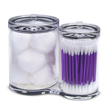 PuTwo Clear Cotton Ball and Swab Organizer