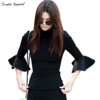 Simplee Apparel Kendall Jenner flare sleeve black girls blouse shirt Women tops Autumn Winter cotton chic turtleneck blusas OL