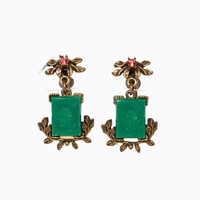 Vintage 40s Carved Intaglio Rhinestone Earrings / 1940s Bright Green & Aged Gold Dangle Screwback Earrings