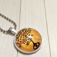 Silver Tree of Life Mythology Jewelry Necklace Glass Dome Pendant Necklace