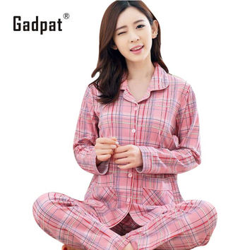 Gadpat Plus Size Pajamas Sets Home Clothes Bust 96-112cm Nightwear Sleepwear Pajamas Women Female Pajama Cotton Pajamas