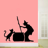 Wall Decals Cat Wizard Decal Vinyl Sticker Nursery Bedroom Kitchen Bathroom Home Decor Dorm Living Room Interior Hall Art Murals MN458