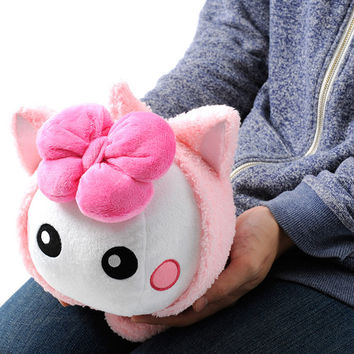 Colored Cat-Eared Costume Hoppe-chan Plushie (White/Peach)