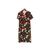 Black Vintage Dress With Tulips, Short Sleeve Granny Dress, Retro Floral Dress