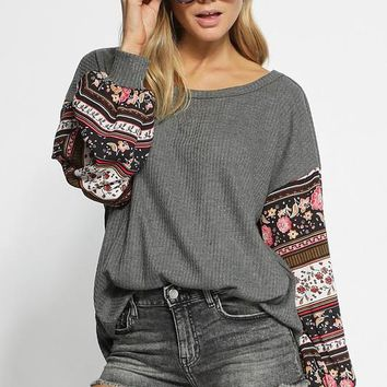 Thermal Knit Top With Floral Balloon Sleeve