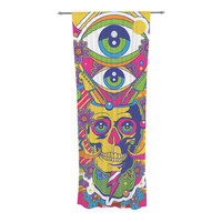 "Roberlan ""Skull"" Rainbow Illustration Decorative Sheer Curtain"