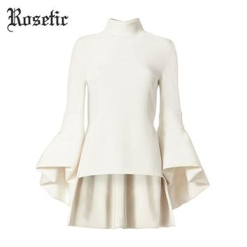Victorian Romantic Goth Asymmetrical Flare Sleeve Casual Blouse