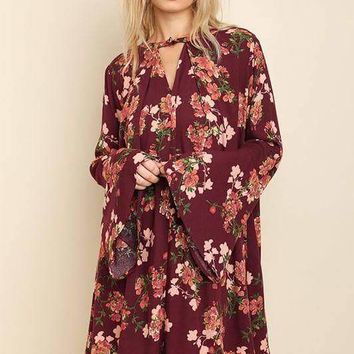 Floral Bell Sleeve Keyhole Dress - Wine