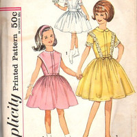 Simplicity 4874 Sewing Pattern Vintage Girls Party Garden Tea Communion Flower Girl Dress Full Skirt Size 10