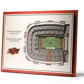 Oklahoma State Cowboys Boone Pickens Stadium View 5-Layer 3D Wall Art