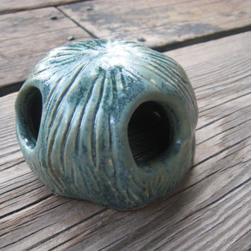 Fish Tank Decoration - Ceramics and Pottery - Ceramic Fish Cave - Blue Green Sculpture - Aquarium Decoration - Betta Fish - Surrealism