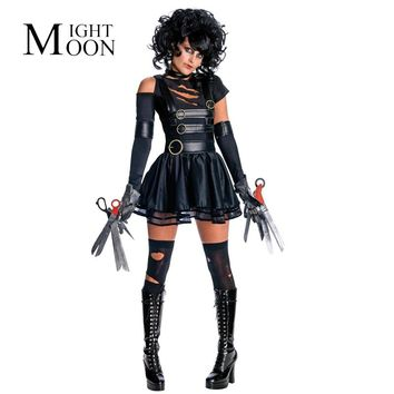 MOONIGHT New Adult Women Sexy Party Edward Scissorhands Costumes Outfit Halloween Fancy Cosplay Dresses