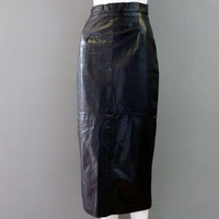 Designer Black Leather Skirt 1980s Long Leather Skirt Leather Midi Skirt XS-S Black Leather Pencil Skirt High Waist Skirt