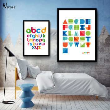 ABC Letter Alphabet Art Canvas Poster Minimalist Print Modern Nursery Picture for Home Children Room Decor Geometric Abstract