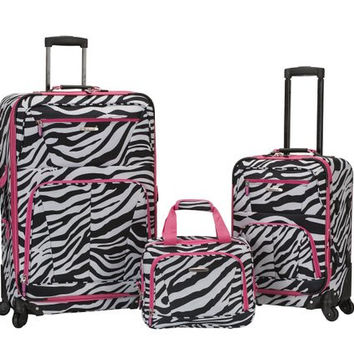 "F228-PINKZEBRA Pasadena 19"", 28"" Expandable Spinner Luggage Set"