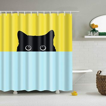 peeking kitty cat fabric shower curtain in yellow and blue - Cat Curtains