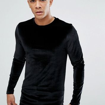 ASOS Longline Muscle Long Sleeve T-Shirt In Velour With Curved Hem In Black at asos.com