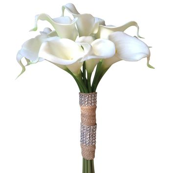 Natural Latex Real Touch calla lily bouquet with burlap wrapped