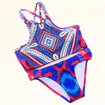 Floral  Print  High Neck Halter Crop Top Swimwear Swimsuit