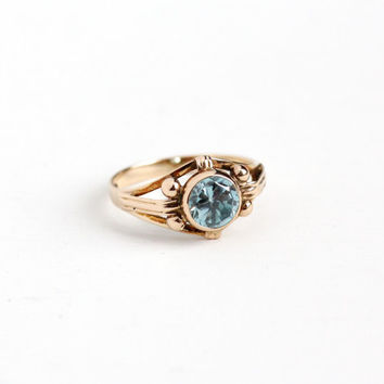 Vintage 10k Rose Gold Zircon Solitaire Ring - Size 7 Art Deco 1940s Light Blue Round Gemstone Fine Studded Linear Jewelry, Church & Co.