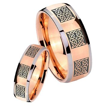 His Hers Rose Gold Dome Multipe Square Celtic Two Tone Tungsten Wedding Rings Set