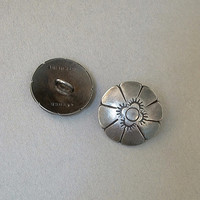 SIGNED Vintage STERLING Silver BUTTONS Southwestern Concho Flower Hallmarks c.1940s