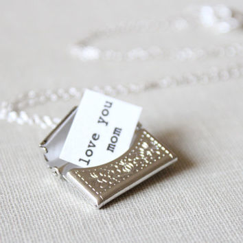Silver Envelope Locket - Silver Locket with Secret Message, For Mom, For Her