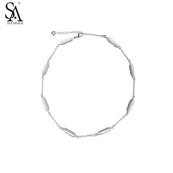 SA SILVERAGE Real 925 Sterling Silver Feather Bracelet Fine Jewelry Women Girl Two Layer 2017 New Design
