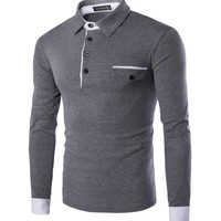 Casual Long Sleeve Men's Polo Shirt