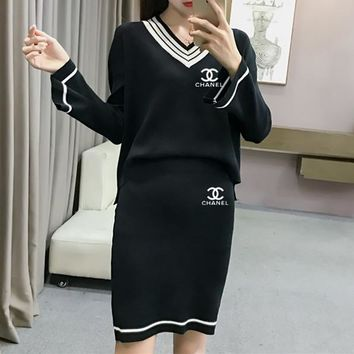 """Chanel"" Women Casual Fashion Multicolor Stripe Letter V-Neck Long Sleeve Short Skirt Set Two-Piece"
