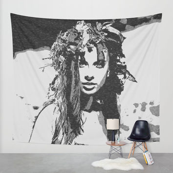 Water Nymph - sexy girl conte, beautiful brunette topless, hot girl nude outdoors, sensual erotic Wall Tapestry by Casemiro Arts - Peter Reiss