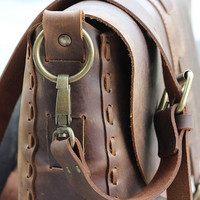 Handmade Leather Purse - Chocolate Brown Hip Bag / Leather Satchel / Shoulder Bag / Hand Bag - Full Grain Cowhide Leather Bag