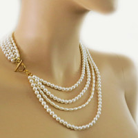 Bridal Necklace, Pearl Necklace layered White Vintage Style Weddings Brides Bridesmaids Gift Jewelry Gold Silver