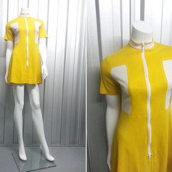 Vintage 60s Mod Mini Dress Bright Yellow Micro Dress Two Piece High Waisted Hot Pants Womens Shorts Irvine Sellars Scooter Dress High Neck