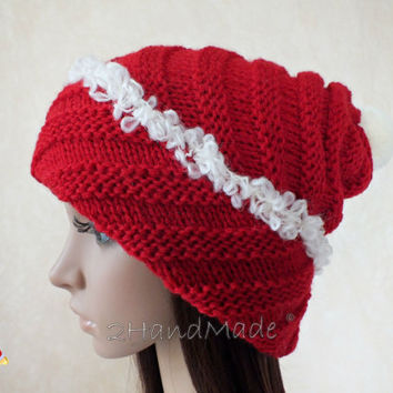 Santa Hat Adult Unisex Womans Knit Oversized Beret Baggy Slouchy Christmas Santa Hat Unisex beanie Chunky Pom Pom