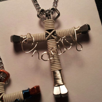 "Personalized with ""Charity"" Wire Art Specialty wire wrapped horseshoe nail cross necklace jewelry"