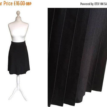 On Sale Black Skirt | 90's Skirt | Pleated Skirt | Faux Silk | Everyday Work Skirt