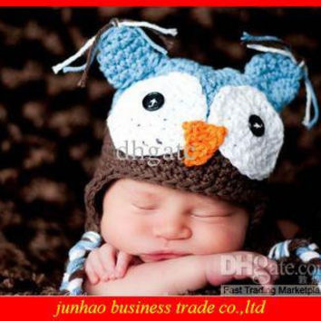Hot Selling 100% Cotton OWL Kids Manual Cap Crochet Lovely OWL Beanie Handmade Cap Children OWL Hat