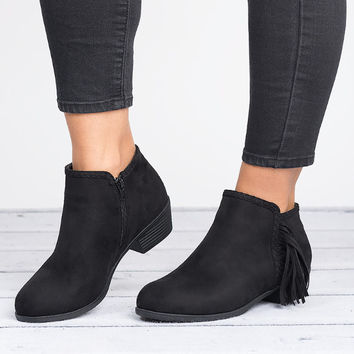Side Fringe Booties - Black