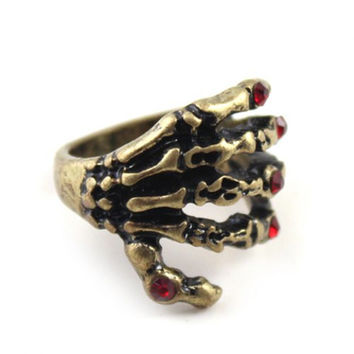 Punk Ring Style Rhinestone Skeleton Hands Shape Womens