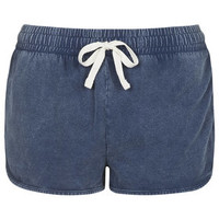 Washed Side Step Runner Shorts - Deep Blue