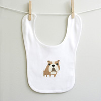 Bulldog baby bib for baby boy or baby girl