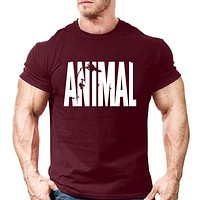 Animal print tracksuit t shirts male muscle fitness T-shirt trends in 2017 cotton brand tops clothes for men bodybuilding Tees